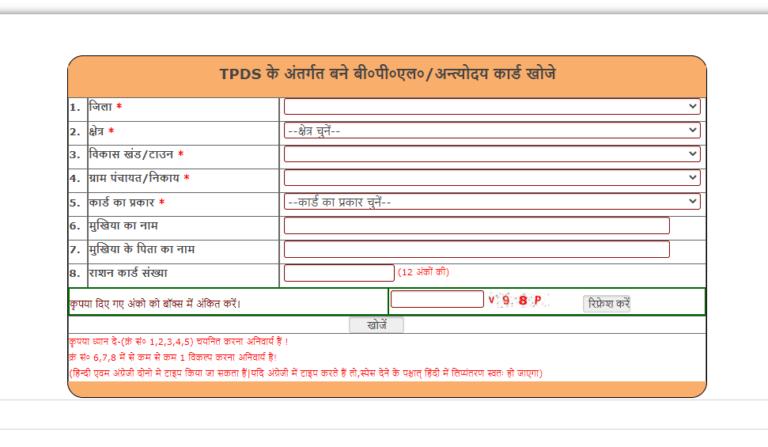 TPDS के अंतर्गत बने बीपीएल अंत्योदय कार्ड UP Ration Card List