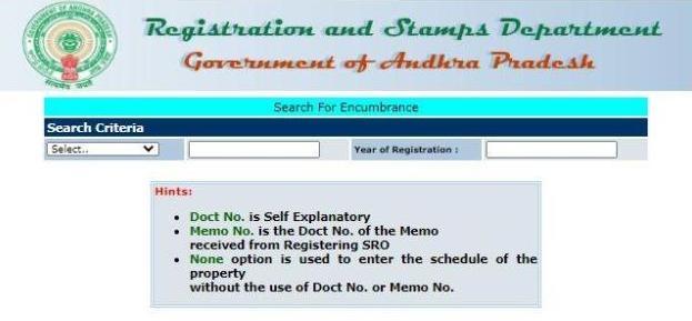 Search Encumbrance Certificate