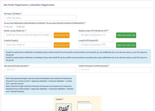 Online Registration at mahajobs.maharashtra.gov.in Portal