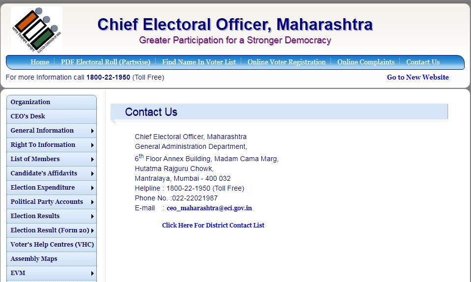 Maharashtra voter list Contact Information