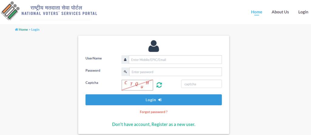 NVSP Portal Login Procedure