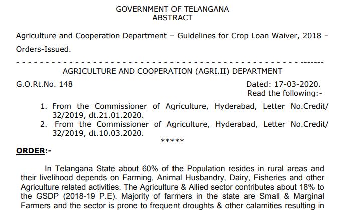 Crop Loan Waiver Scheme G.O Rt No. 148