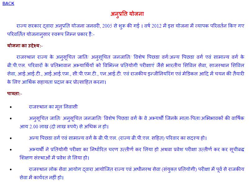 राजस्थान अनुप्रति योजना के अंतर्गत ऑनलाइन आवेदन की प्रक्रिया